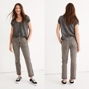 Madewell Stovepipe Fatigue Pants Jeans: Sparkle Stripe Edition, Size 29, Grey